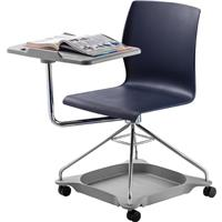 Image of National Public Seating Chair On The Go Mobile Tablet Chair, Supports 440 Lbs, Blue Surface, Chrome Frame