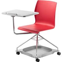 Image of National Public Seating Chair On The Go Mobile Tablet Chair, Supports 440 Lbs, Red Surface, Chrome Frame