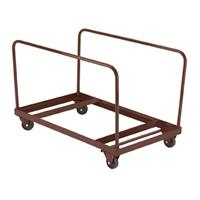 """Image of National Public Seating DY-60R Folding Table Dolly for Vertical Storage, 48"""" & 60"""" Round Tables, Supports 660 Lbs, Brown Frame"""