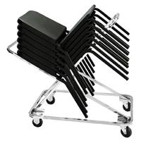 Image of National Public Seating DY82 Dolly for 18x 8200 Series Music Chairs, Supports 332 Lbs, Chrome Frame