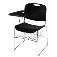Image of National Public Seating National Public Seating Left Tablet Arm for 8500 Series Stack Chair, Black Surface, Chrome Frame