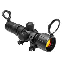 Image of NcSTAR 3-9x42 Tactical Series Riflescope, Matte Black Rubber Finish with Red & Green Illuminated P4 Sniper Reticle, Weaver Style Rings, 30mm Tube