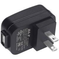 Image of Nightstick NS-USBAC Female USB Type A to Male US Type A AC Power Plug Adapter, Black