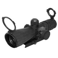 Image of NcSTAR 4x32mm SRT Armored Tactical Riflescope, Matte Black Finish with Blue Illuminated P4 Sniper Reticle, BDC Target Turrets, External Red Laser, Integrated Mount