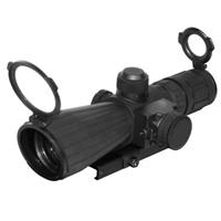 Image of NcSTAR 4x32mm SRT Armored Tactical Riflescope, Matte Black Finish with Blue Illuminated Rangefinder Reticle, BDC Target Turrets, External Red Laser, Integrated Mount