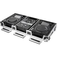 "Odyssey Innovative Designs Flight Zone DJ Coffin with Wheels and Pro-Duty Extra Deep Rear Cable Space for 2-Large Format Tabletop CD/Media Players and 10"" One Mixer"