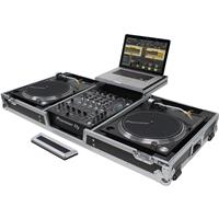 """Odyssey Innovative Designs Flight Zone Low Profile Glide Style Series Universal Turntable DJ Coffin with Wheels for 12"""" Format DJ Mixer and 2 Turntables in Battle Position"""