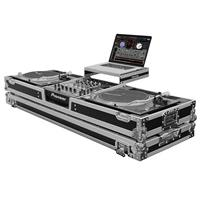 """Odyssey Innovative Designs Flight Zone Series Low Profile Glide Style DJ Coffin with Wheels for 12"""" Format Mixer and Two Turntables in Standard Position"""