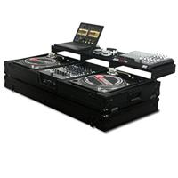 """Odyssey Innovative Designs Black Label Remixer Glide Style Series DJ Coffin for 2 Turntables in Battle Position & 12"""" Width Mixer"""