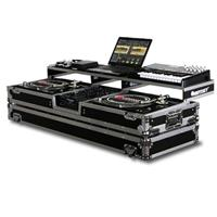 """Odyssey Innovative Designs Remixer Glide Style Series DJ Coffin Case with Wheels for 10"""" Width Mixer & 2 Turntables in Standard Position"""