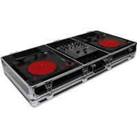 "Odyssey Innovative Designs Krom Series DJ Coffin for 2 Numark PT01 Scratch Portablist Turntables and 10"" Format DJ Mixer, Black"