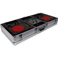 "Odyssey Innovative Designs Krom Series DJ Coffin for 2 Numark PT01 Scratch Portablist Turntables and 10"" Format DJ Mixer, Silver"