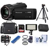 Panasonic HC-V770 Full HD Camcorder, 20x Optical - Bundle with 32GB Class 10 SDHC Card, Video Case, 49mm Filter Kit, Tripod, Spare Battery, Video Light, Memory Case, Card Reader