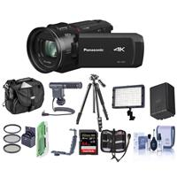Panasonic HC-VX1K 4K Camcorder, 24x Leica Dicomar Lens, - Bundle With Video Bag, 32GB SDHC Card, Spare Battery, Video Light, Shotgun Mic, Tripod, Cleaning Kit, Memory Wallet, 62mm Filter Kit And More