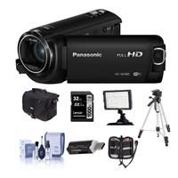 Panasonic HC-W580K Full HD Camcorder with Wi-Fi, Built-in Multi Scene Twin Camera - Bundle with 32GB SDHC U3 Card, Camera Case, Tripod, Video Light, Cleaning Kit, Memory Wallet, card Reader