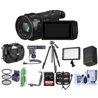 Panasonic HC-WXF1K 4K UHD Camcorder, 24x Leica Dicomar Lens, - Bundle With Video Bag, 32GB SDHC Card, Spare Battery, Video Light, Shotgun Mic, Tripod, Cleaning Kit, Memory Wallet, 62mm Filter Kit And More