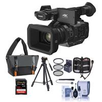Panasonic HC-X1 4K Ultra HD Professional Camcorder with Leica Dicomar Lens, 20x Optical Zoom - Bundle With Video Case, 32GB SDHC U3 Card, Video Tripod, Cleaning Kit, 67mm Filter Kit, Memory Wallet, Capleash