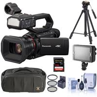 Image of Panasonic HC-X2000 4K Professional Camcorder with Handle Unit - Bundle With 64GB SDXC Card, 3 Section Video Tripod, Shoulder Bag, 62mm Filter Kit, Cleaning Kit