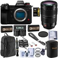 Image of Panasonic Lumix DC-S1H Mirrorless Camera with S PRO 24-70mm F/2.8 Lens Bundle with 128GB UHS-II V-90 SD Card, Backpack, 2x Extra Battery, Dual Charger, Wrist Strap and Accessories