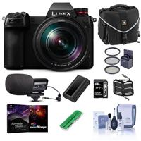 Panasonic LUMIX S1 Mirrorless Camera with LUMIX S 24-105mm f/4 O.I.S Lens - Bundle With Camera Case, 64GB SDXC Card, Spare Battery, Stereo Condenser Microphone, Memory Wallet, Pro Software Pack, And More