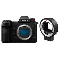 Panasonic Lumix DC-S1R Mirrorless Digital Camera Body - With Sigma MC-21 Mount Converter, Canon EF Lenses to Leica L Mount Cameras