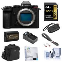 Image of Panasonic Lumix DC-S5 Mirrorless Camera Body Bundle with 64GB UHS-II V90 SD Card, Card Case, Bag, Wrist Strap, Extra Battery, Charger, Screen Protector, Cleaning Kit