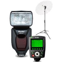 "Image of Phottix Mitros+ Portrait Anywhere 1 Kit for Nikon Cameras, Includes Mitros+ TTL Transceiver Flash, Odin II TTL Trigger Transmitter, Varos Pro S Multi-Function Flash Shoe Umbrella Holder, 110"" Air Cushioned Light Stand, 40"" Para-Pro Shoot-Through"