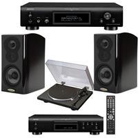 Polk Audio 2 Pack LSiM703 Bookshelf Loudspeaker, 36Hz-40kHz, Midnight Mahogany - Bundle With Denon DP-300F Analog Turntable, Denon DCD-800NE Single-Disc CD Player, Denon DNP-800NE Network Audio Player
