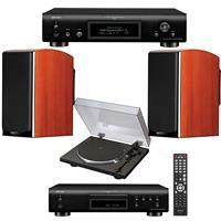 Polk Audio 2 Pack LSiM703 Bookshelf Loudspeaker, 36Hz-40kHz, Mt. Vernon Cherry - Bundle With Denon DP-300F Analog Turntable, Denon DCD-800NE Single-Disc CD Player, Denon DNP-800NE Network Audio Player