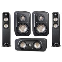 Polk Audio Signature S10 2-Way ome Theater Compact Satellite Surround Speakers (Pair) - Bundle With Polk S30 2-Way Home Theater Center Speaker Single, Polk 2x S55 Medium 2-Way Home Theater Tower Speaker
