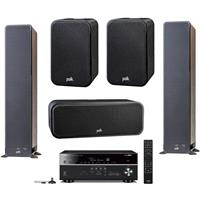 "Polk Audio 2x Signature Series S50 37.4"" Home Theater Tower Speaker, Polk Audio Signature Series S30 Home Theater Center Speaker, Polk Audio Signature Series S10 Home Theater Compact Satellite Speaker Pair, Yamaha RX-V685 7.2-Channel AV Receiver with MusicCast"