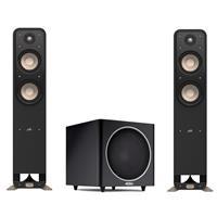 "Polk Audio 2x Signature Series S55 Medium 2-Way American HiFi Home Theater Tower Speaker - with Polk Audio PSW110 10"" Freestanding Subwoofer, Black"