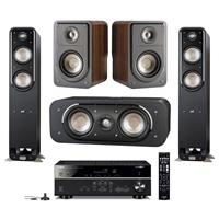 "Polk Audio 2 Pack Signature Series S55 41.5"" Home Theater Tower Speaker Black Walnut - Bundle With S30 Home Theater Center Speaker, S15 Small Home Theater Bookshelf Speakers Pair, Yamaha RX-V485 AV Reciever"