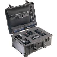 Image of Pelican 1560LOC Laptop Watertight Hard Case with Clothing Compartment, Laptop Sleeve & Wheels - Charcoal Black