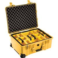Image of Pelican 1560 Waterproof Carry-on-Case with Yellow/Black Divider Set and Wheels - Yellow