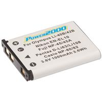 Image of Power2000 ACD-268 3.6V 1000mAh Replacement Rechargeable Lithium-Ion Battery for Olympus LI-40B/42B, Pentax D-LI63 & Nikon EN-EL10 Digital Camera batteries