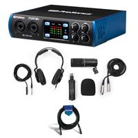 Image of PreSonus Studio 24c 2x2 Portable UH Definition USB Type-C Audio/MIDI Interface with XMAX-L Preamps - With Zoom ZDM-1 Podcast Microphone Pack, 20' Microphone Cable, Male XLR to Female XLR
