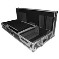"ProX XS-CDM19WLT Universal DJ Coffin Case with Laptop Shelf and Wheels for 19"" Mixer and 2x Large Format CD Players, Silver-on-Black"