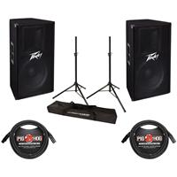"""Image of Peavey P2 Pack V 115 15"""" Two-Way Passive Speaker 46Hz-21kHz Frequency Response (-10dB), Ultimate Support JamStands JS-TS50 Tripod-Style Speaker Stand Pair, 2 Pack 15' 8mm XLR Microphone Cable"""