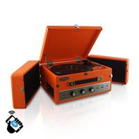 Image of Pyle PLTT82BT Retro Vintage Classic Style Bluetooth Turntable Record Player with Vinyl-to-MP3 Recording, PC Encoding, Orange