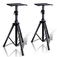 """Image of Pyle PSTND32 3-Section Steel Tripod Stands for Universal Monitor Speakers, Supports 90 Lbs, 53"""" Max Height, Pair"""