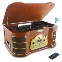 Pyle PTCD54UB Bluetooth Vintage Classic-Style Turntable Speaker System with CD & Cassette Players, Vinyl-to-MP3 Recording, MP3/USB Reader & AM/FM Radio, Maple Burst Wood