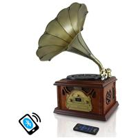 Pyle PTCDCS32BT Retro Vintage Classic-Style Bluetooth Turntable Phonograph Record Player, Vinyl-to-MP3 Recording, AM/FM Radio, CD & Cassette Tape Players, Brown