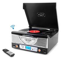 Image of Pyle PTR8UBTBK Retro Vintage Classic Style Bluetooth Turntable Vinyl Record Player with USB/MP3 Computer Recording, Black