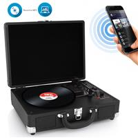 Image of Pyle PVTTBT6 Bluetooth Classic Vinyl Record Player Turntable with Built-in Rechargeable Battery & Speakers, Black