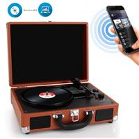 Image of Pyle PVTTBT6 Bluetooth Classic Vinyl Record Player Turntable with Built-in Rechargeable Battery & Speakers, Brown