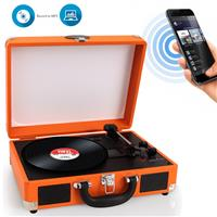 Image of Pyle PVTTBT6 Bluetooth Classic Vinyl Record Player Turntable with Built-in Rechargeable Battery & Speakers, Orange