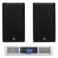 """Image of QSC Passive Speaker System, Includes 2x E112 12"""" 2-Way Passive Loudspeaker and GXD8 DSP Power Amplifier"""