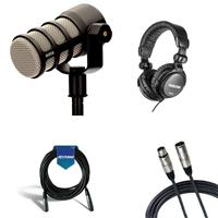 Image of Rode Microphones PodMic Dynamic Podcasting Microphone with Headphones and Cables