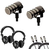 Image of Rode Microphones PodMic Dynamic Podcasting Microphone with Headphones and Cables, 2-Pack